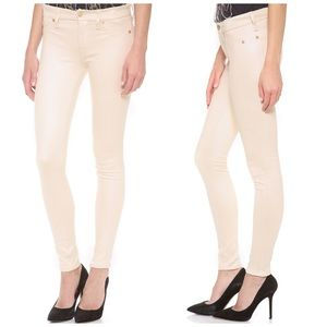 7FAM Ivory Faux Suede Crackle Leather Skinny 29